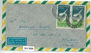 BRAZIL  - POSTAL HISTORY  -  AIRMAIL COVER to ITALY  1956 - 11.60 Cr RATE