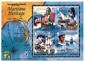 Gibraltar – 1999 Maritime Heritage Ships 4 Stamp Souvenir Sheet #801a