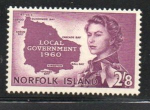 Norfolk Island Sc 42 1960 2/ 8d QE II & Map stamp mint NH