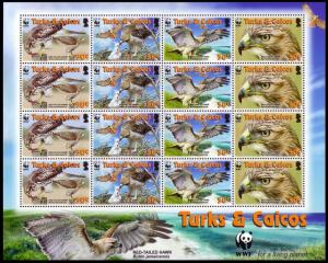 Turks and Caicos Birds WWF Red-tailed Hawk Sheetlet of 4 sets SG#1870-1873