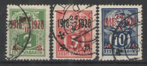 Estonia 1928 Sc# 84-86 Used VG - New currency surcharge