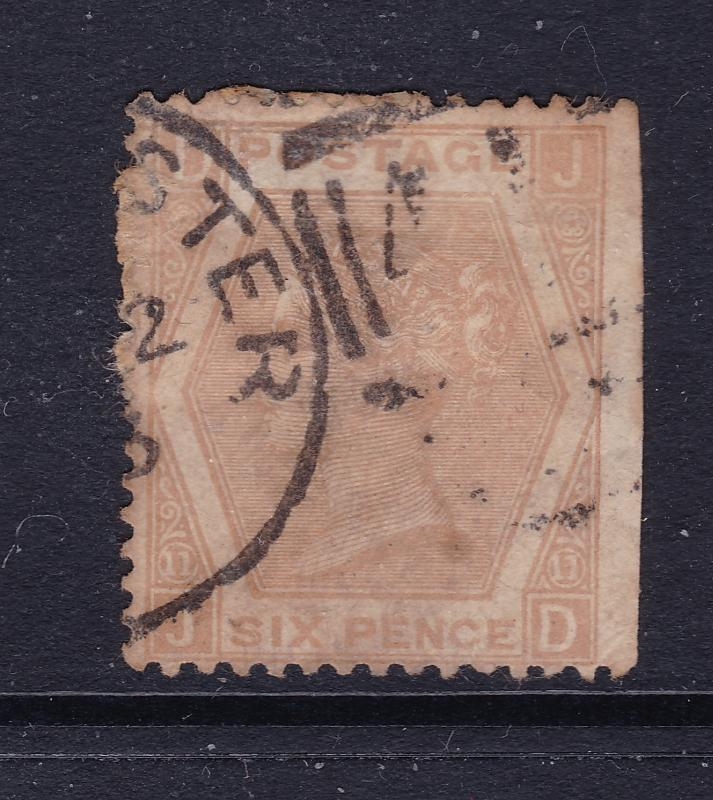 Great Britain a QV  6d chestnut plate 11 used