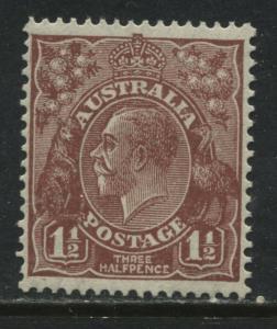 Australia KGV Head 1936 1 1/2d red brown mint o.g.