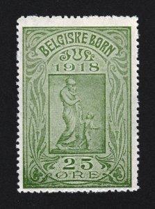 REKLAMEMARKE DENMARK POSTER STAMP BELGISKE BORN - CHILDRENS CHARITY WWI JUL 1918