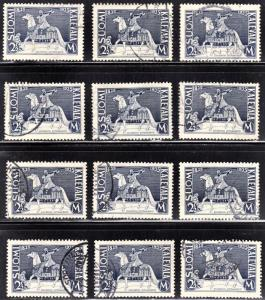 Finland Scott 209 F to VF used, small stock of 12 stamps. Wholesale price.