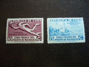 Stamps - Cuba - Scott# E8, CE1, Mint Hinged Set of 2 Stamps