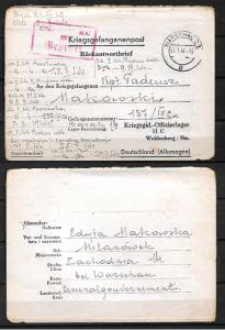 GERMANY WWII. 1944. LETTER-SHEET TO OFLAG XIc - POW CAMP FOR POLISH OFFICER