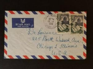 1955 Guadeloupe to Chicago Illinois USA Air Mail De Laurence Company Cover