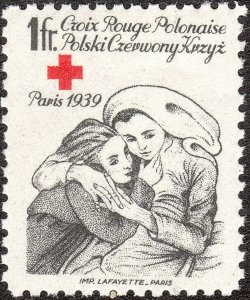 Stamp Label Poland 1939 WWII Poster Cinderella Red Cross Mother Child MNH