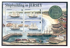 Jersey Sc 599a 1992 Jersey Built Ships stamp sheet mint NH