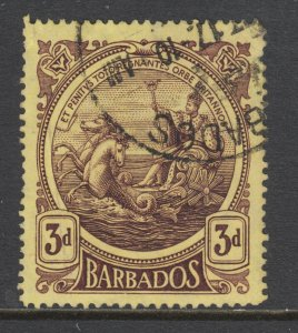 Barbados Sc 132 used. 1916 39 violet on yellow Seal of the Colony, pulled perf