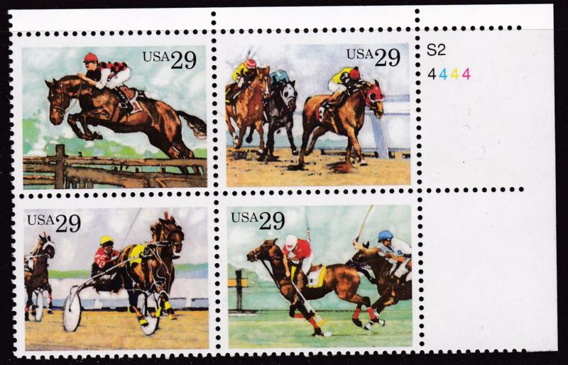 United States 1993 29c Sporting Horses Plate Number Block VF/NH