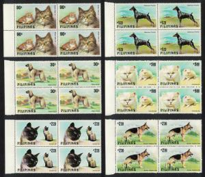 Philippines Cats and Dogs 6v Blocks of 4 with Margins SG#1539-1544 MI#1306-1311