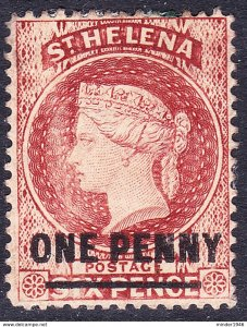 ST HELENA 1868 QV 1d on 6d Lake SG7 MH