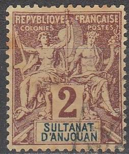 Anjouan #2 F-VF Used  (A16878)