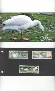 Isle of Man 482-7 Swans 1991  MNH Presentation Folder