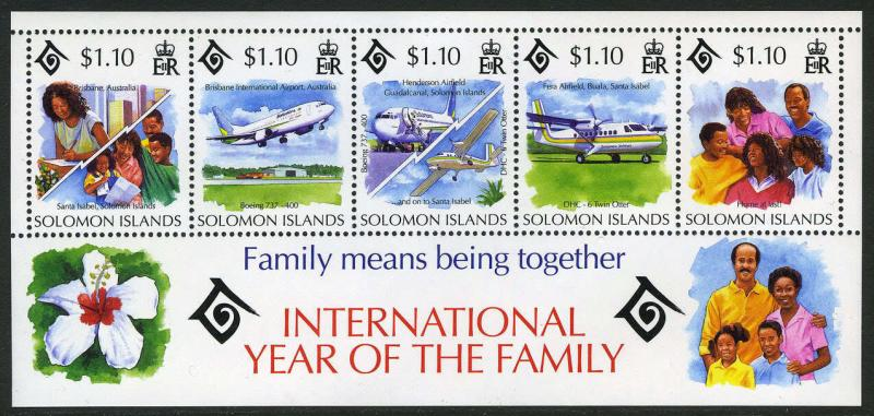 Solomon Islands 778f S/S, MI Bl.38, MNH. Intl. Year of the Family, Planes, 1994