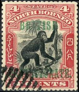 North Borneo #108 4c Orangutan Used/H