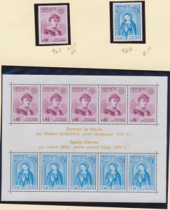 Monaco Stamp Scott #961-2, 962a, Mint Never Hinged, Stamp Set & Souvenir Shee...