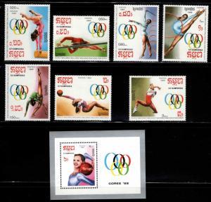 Cambodia Scott 844-851 MNH** Seoul Olympic Games set
