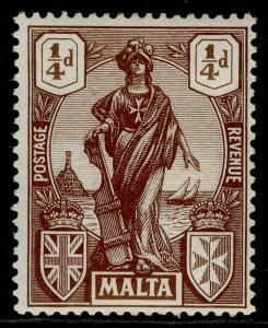MALTA GV SG123, ¼d brown, LH MINT.