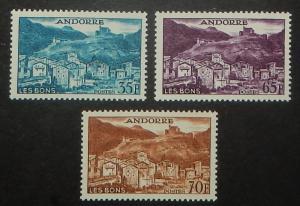Andorra (French) 137, 140-41. 1957-58 35Fr, 65Fr, 70Fr Pictorials
