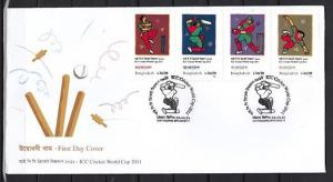 Bangladesh, Scott cat. 779 A-D. ICC World Cricket Cup issue. First Day Cover. *
