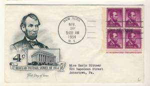 US - 1954 - Scott 1036 FDC - Lincoln Block of 4
