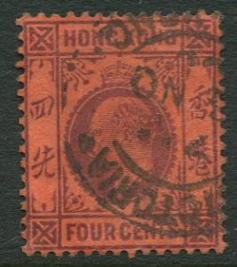 Hong Kong -Scott 89 - KEVII Definitive -1904 - Used - Single 4c Stamp