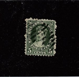 NEW BRUNSWICK # 8 F-VF-USED 5cts 1860 QUEEN VICTORIA /YELLOW GREEN /CENTS CV $20