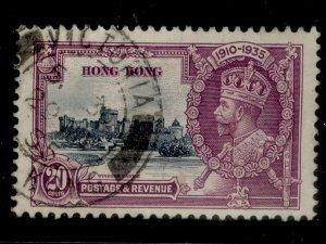 HONG KONG GV SG136, 20c slate and purple, FINE USED. Cat £11.