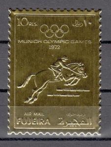 Fujeira, Mi cat. 1092 A. Munich Olympic Equestrian Gold Foil issue. ^