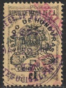 HONDURAS 1898 5c Documentary Revenue Control VFU