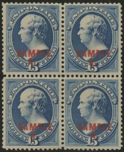 #189SL 15¢ COLOR SPECIMEN BLOCK OF 4 VF-XF VLH HV8611