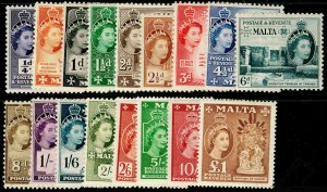 MALTA SG266-282, 1956-58 COMPLETE SET, LH MINT. Cat £130.