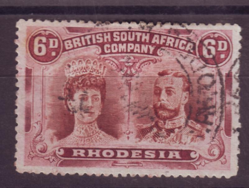 J17097 JLstamps 1910 rhodesia used #108 king and queen