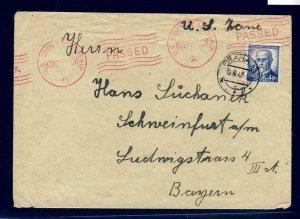 11966- CZECHOSLOVAKIA 1947 - CIRCULATED & CENSORED COVER BY U.S. CIVIL CENSOR