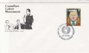 Canada 1987 Canadian Labor Movement FDC Maple Leaf Cancel Stamps Cover ref 21986
