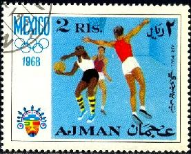 Basketball, 1968 Summer Olympics, Mexico, Ajman stamp Used
