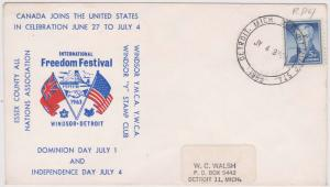 Canada Joins USA in Celebration 1963 - Windsor YMCA Cover - VF - Est. $10.+ 0
