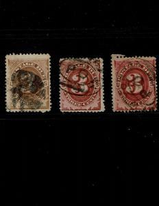Scott #J3, J17 and J24 Fine-used. SCV - $372.00