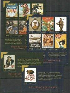 V1077 2015 ST. KITTS WORLD WAR I WWI POSTERS #1476-87 MICHEL 52 EURO 2KB+2BL FIX