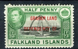 FALKLANDS; 1941 early GRAHAM LAND Optd. on GVI Mint hinged 1/2d. value