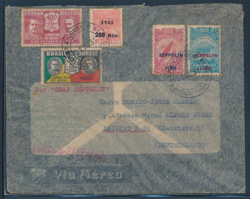 SIEGER #125C W/ C26, C27 ON CONDOR - ZEPPELIN FLIGHT COVER 1931 BU6085