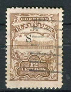 SALVADOR; 1915-16 Unissued Remainders ' S ' Optd fine Mint hinged 12c. value
