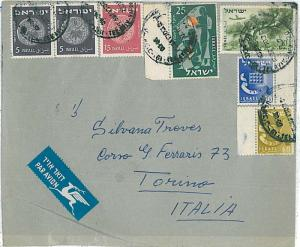 COINS - POSTAL HISTORY  ISRAEL : AIRMAIL COVER to ITALY 1955
