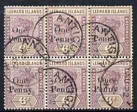 Leeward Islands 1902 QV 1d on 6d block of 6 fine used wit...