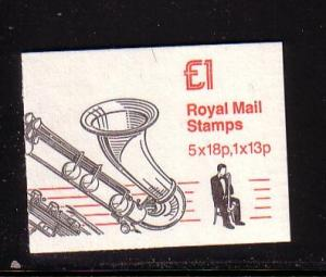 Great Britain Sc BK406 Bass Clarinet cover stamp bklt