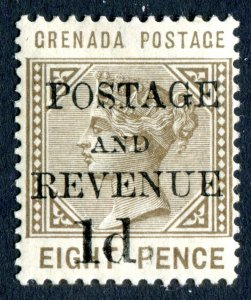 Grenada 1888 QV. 1d on 8d grey brown. Mint Hinged. NO STOP AFTER 1d. SG46cSG82f.
