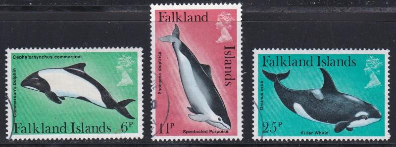 Falkland Islands # 299, 301, 303, Dolphins, Used,  1/3 Cat.